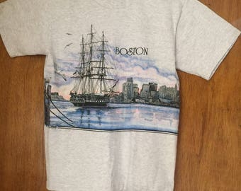 Vintage 1990's U.S.S. Constitution Boston Tee Shirt Size Medium SanSegal 2-Sided Graphic Tee Shirt Old Ironsides Boston Harbor Souvenir