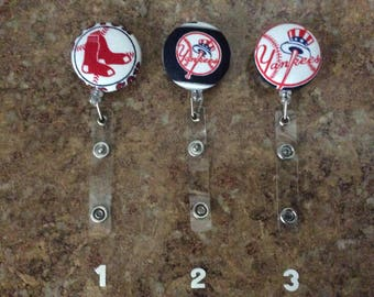 Red Sox, Yankees, Bruins Retractable Reel, ID Badge Holder with clip, gift for under 7 dollars FREE SHIPPING
