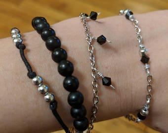Silver and Black Bracelet Set