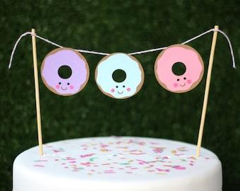 Little donut bunting cake topper