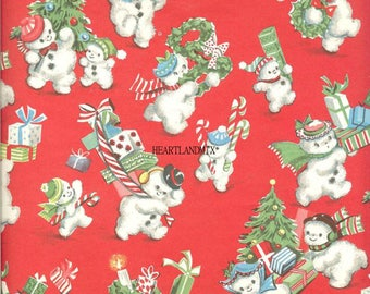 Vintage Christmas Wrapping Paper Wallpaper Snowmen with Xmas Trees and Toys Digital Image Printable Download
