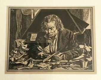 19th Century Framed Print of Beethoven by Batt
