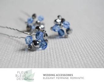 blue hair jewelry   something blue   blue hair pins   bridesmaid set   rhinestone hair pin   wedding hairpin   crystal hair pins