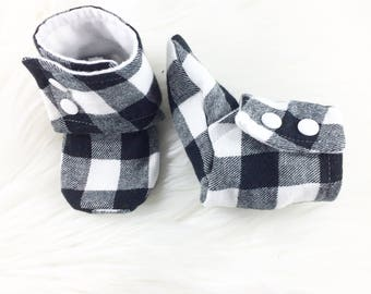 White Plaid Tall Booties, Softsole Tall Booties,  Baby Booties, Baby Shoes