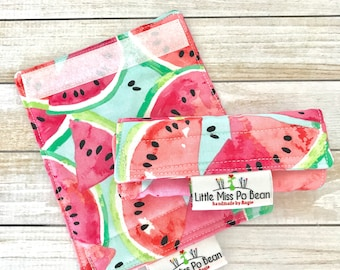 Fresh Watermelon Fabric Luggage Handle Wrap Covers Set of 2, Luggage Tag, Bag Identifier, Travel Accessory, Airport Tag, Vacation