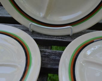 Carr China St Louis Glo Tan - Grill Plate - Divided Dinner Plate - SET of 3 - Railroad Restaurant Ware - Tan with Green Brown Black Banding