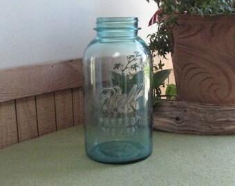 Blue Ball Perfect Mason Jar 1923 - 1933 No Underline Logo Half Gallon Canning or Fruit Jars Antique Kitchen Storage Rustic Farmhouse