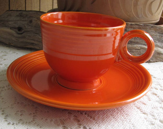 Older Fiesta Ware Homer Laughlin Red (Orange) Coffee Cup and Saucer 1936-1969  Imperfections