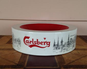 "Advertising ""Carlsberg"" beer Ashtray,  Bar Decor,  Paper Weight,  Paper Clip Tray,  Home Decor, Man Cave Decor"