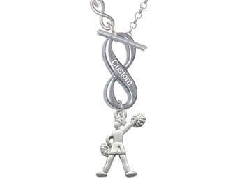 Cheerleader Necklace,Custom Engraved Infinity Necklace,Personalized Jewelry,Silver Plated Cheerleader Charm,Cheer Necklace,Cheer Gifts,C1976