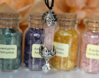 Gemstone Vial Necklace/Choose Your Gemstone/Healing Gemstones/Swarovski Crystal/Rose Quartz/Amethyst/Citrine/Chakra/Reiki/Yoga