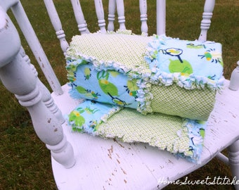 "Flannel rag quilt -- 35"" X 41"" -- reversible green and blue flannel print -- FREE SHIPPING!"
