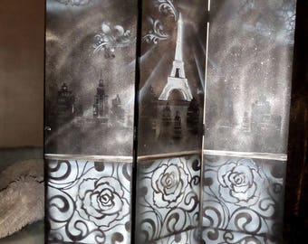 Double room divider screen Paris by night