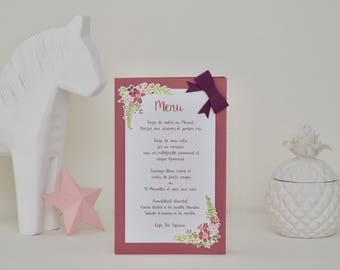 "Table menu ""Flower Crown"" pink and plum with a raised bow"