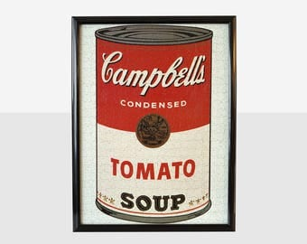 andy warhol campbell's tomato soup can puzzle, andy warhol soup can, campbell's soup can puzzle, framed andy warhol tomato soup can puzzle