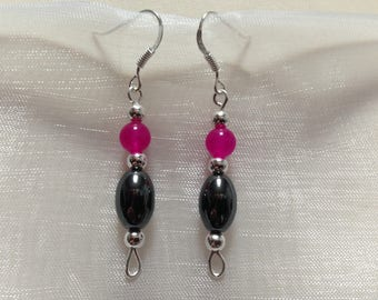 Silver earrings 925 alexandrites fuchsia pink and charcoal grey Hematite gemstones