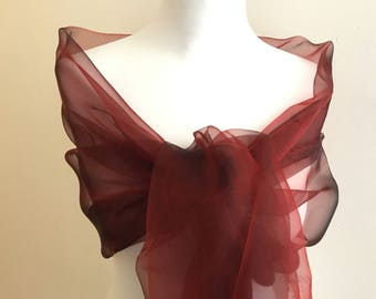 Red iridescent organza stole Black 2 meters / 70 cm wedding party season holiday Christmas
