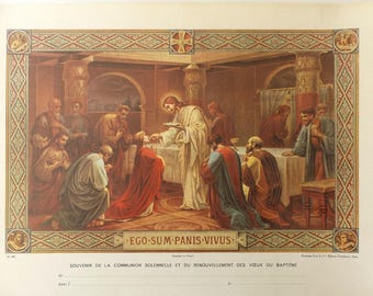 Antique French Communion Certificate. First Communion Souvenir. Religious home Decor. Old New Stock.
