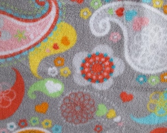 Colorful Paisleys on Gray Fleece Fabric (28 inches)