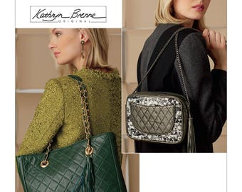 Vogue Pattern V9263 Handbags and Bags with Quilted Front and Inside Pocket Option