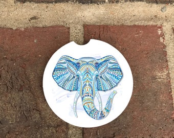 Custom Ethic Elephant Absorbent SandStone car coasters (set of 2); Ethic Elephant coasters Personalized Car Coasters (set of 2) Gift Ideas