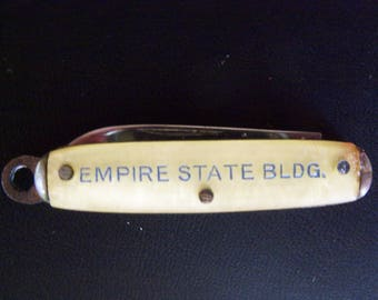 Vintage Empire State Building Souvenir of New York Miniature Folding Pocket Knife with One Blade