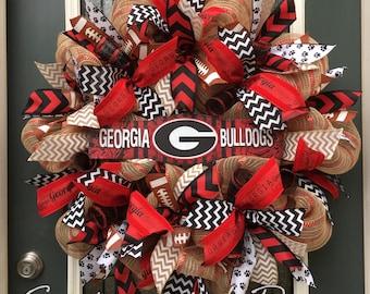 UGA Wreath,Burlap University of Georgia Wreath,Football Burlap Wreath,Georgia Bulldogs Wreath,Tailgate Party Decoration,Go Dawgs!