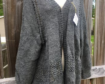 Handmade Hand Knitted Wool Cardigan - Lacy Open Weave - Size 2x - Dark Gray