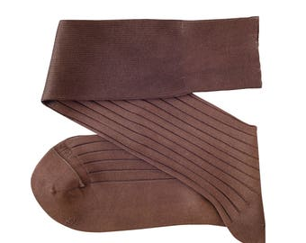 Brown Men Over The Calf New Ribbed %100Cotton Lisle Casual Dress Solid Cotton Socks