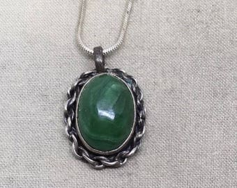 Vintage malachite in sterling silver necklace