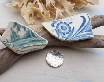 TEAL GREEN & BLUE English Sea Worn Pottery Shards ~ Trees and Flowers ~ Jewelry Supplies