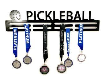 """Pickleball 20"""" Steel Medal Hanger Holder - 3mm thick - powder coat baked on"""