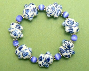Chunky Rabbit Porcelain Bracelet - Blue & White