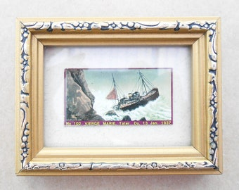 Vintage Miniature Picture of a Shipwreck in a Gilt Frame - 'Vierge Marie 13 Jan 1937' - Cigarette Card - Gallery Wall - Picture Wall