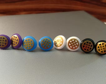 Button Earrings with Gold Lattice