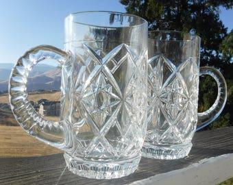 """Bohemia Crystal Beer Mugs or Steins, 3-3/8"""" Diameter x 6-1/8"""" Tall, Set of 2"""