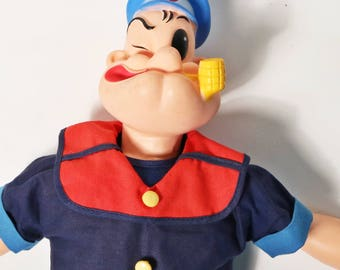 "Vintage Popeye The Sailor Man Doll 16"" King Features Syndicate Cartoon 1960's"