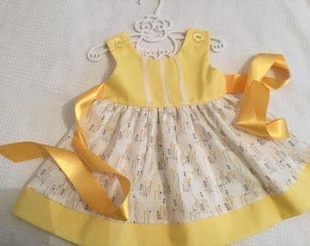 Baby girls lemon easter dress flowers lace trim bodice swirly skirt