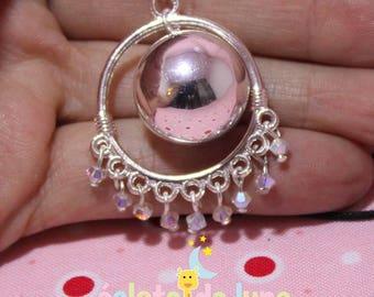 "Pregnancy's Bola HarmonyBall ""Esmeralda"" chandelier and swarovski ABx2 bicone beads"
