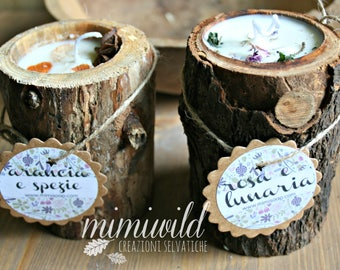 Woodland candles-soy wax candles (TEMPORARY BALANCE)-wood-wood-wild herbs-wild flowers