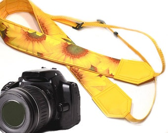 Sunflowers Camera strap. Yellow camera strap. Gift for her. For photographer. Flowers camera strap.  DSLR / SLR Camera Strap.
