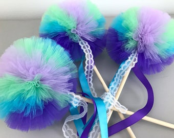 Mermaid Stocking Stuffers for Girls, Mermaid Party Favors Pom Wands, Mermaid Costume Accessories, Sold Individually