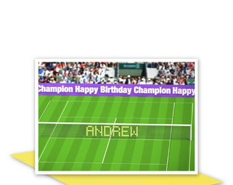 Personalised 14th birthday card for boy for girl edit name 14 tennis fan personalised name happy birthday card for him her edit name birthday card bookmarktalkfo Images