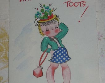 ON SALE till 6/30 Happy Birthday Toots Cute Little Card by Gibson