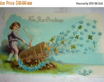 ON SALE till 6/30 Boy Shoots Forget-Me-Nots From a Gold Cannon Unique New Postcard