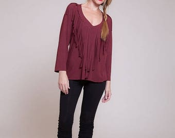 Long sleeved tassel maroon shirt, native american, womens tops, womens blouse, winter fashion, fringe shirt  sizes : XS / S / M / L / Xl