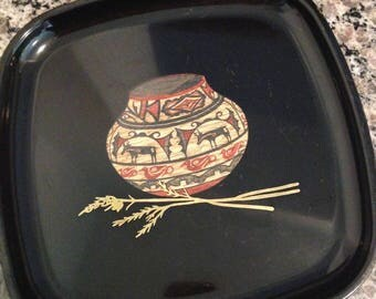 RARE Vintage COUROC Tray with Indian Pottery Design