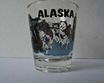 Alaska Shot Glass Souvenir Dog Sledding Huskies Tusked Walrus and Polar Bear Mountain Alaskan Scenery Shooter Glass Gift
