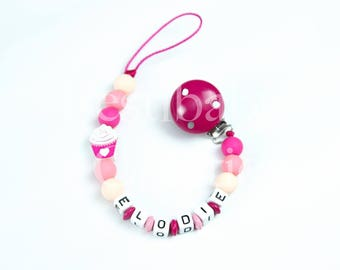 """Pacifier clip personalized silicone beads - model """"Elodie"""""""