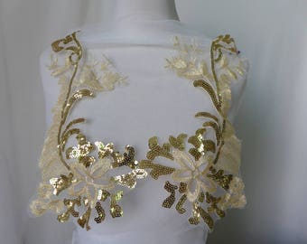 Gold Lace Applique, Alencon Lace Applique With Sequins, Gold Alencon Appliques Sell By One Pair